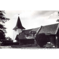 St Andrew, Greensted Church - An old postcard showing the wooden nave walls from the South.