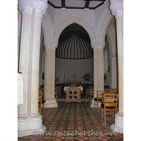 St John the Baptist, Little Maplestead Church - Full length view of interior, through the round nave, to the 