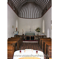 St John the Baptist, Little Maplestead Church - The chancel, with the small pews that fit two people.
