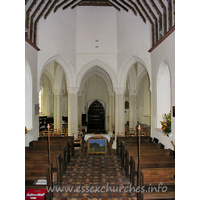 St John the Baptist, Little Maplestead Church - Looking W from the altar, clearly showing the round rotunda of 