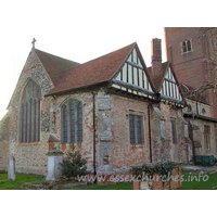 St Andrew, Rochford Church - The chancel chapel is of red brick, with half-timbered gables.