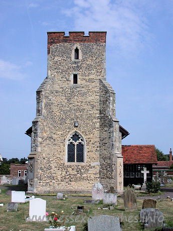St Andrew, South Shoebury Church - Early 14th Century tower with diagonal buttresses. The brick 