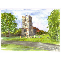 St Mary, Elsenham Church - This image represents a prize which was offered by the church for a raffle in aid of the church repair fund.
