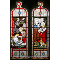 St Catherine, Wickford Church - This double window in the south wall depicts the disciples in the corn fields, and the parable of the Good Samaritan.