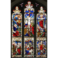 All Saints, Barling Church - Glass - 5 sections show Christ's Life === His nativity; His trial before Caiaphas; His crucifixion; His resurrection; His Ascension. === The remaining section shows Elisha, the servant, 