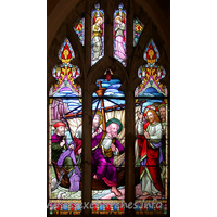 St Peter, Paglesham Church -    This East window shows St Peter walking on the water. It is a  memorial to George F. Browning, who died aged 73, June 7th 1878.