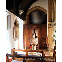St Mary, Langdon Hills New Church - The font now stands in the Lady Chapel. The unusual wooden lid is dedicated to Thomas Monk who was a church warden.
