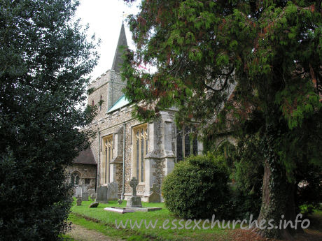 St Mary the Virgin, Great Bardfield Church - This view of the church shows the S aisle, complete with late C14 windows.