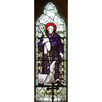 St Giles, Mountnessing Church - Stained glass window in North aisle, depicting St. Giles. By 