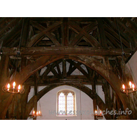 St Giles, Mountnessing Church - A view of the belfry interior, which stands as an independent 