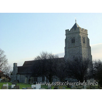 All Saints, Rettendon Church - The Kentish Rag tower is diagonally buttressed. It has a low 