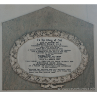 "St Peter ad Vincula, Coggeshall Church - To the Glory of God and in memory of JAMES DUKE HILL, formerly of Terlings, Harlow, Essex. Born 11th May 1834, died 29th Septemner 1901. A deputy Lieutenant of the City of London, and a Justice of the Peace for the County of Hertfordshire. === Also of MARIANNE his wife, born 16th March 1842, died 2nd March 1921. === This tablet is erected by their eldest son REGINALD DUKE HILL of Holfield Grange, Coggeshall, as a token of gratitude and affection to his parents. === ""Honour thy father and thy mother; that thy days may be long in the land which the Lord thy God giveth thee."""