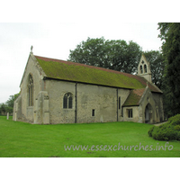 St Mary the Virgin, Little Chesterford Church - A lancet window to the left of the N porch indicates the C13 build.