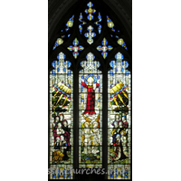 St Nicholas, Elmdon Church - The Ascension of Christ, by Clayton and Bell, 1911. This window is a memorial to Robert Fiske Wilkes (vicar 1842-1862) and his wife.