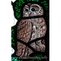 All Saints, Nazeing Church - Detail from Peter Cormack glass, showing an owl.