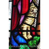 All Saints, Nazeing Church - Detail from Peter Cormack glass, showing a cat.