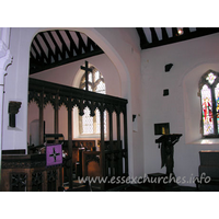 "All Saints, Nazeing Church - More evidence of the rood screen - on the S wall, above the lectern, is the other end of the rood beam. Direct above is what appears to the the remains of the front/top part of the rood screen itself. This is shown more clearly in the ""Misc."" section."