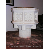 All Saints, Nazeing Church - Perpendicular font with quatrefoil shields.