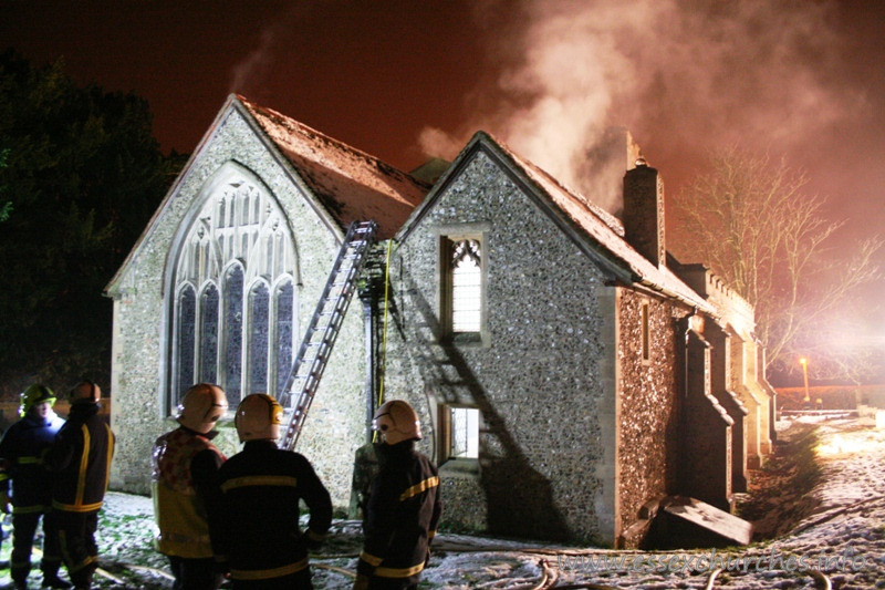 St Mary the Virgin, Sheering Church - Image courtesy of Essex County Fire and Rescue Service - http://www.essex-fire.gov.uk.