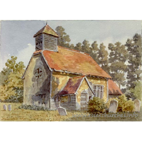St Nicholas, Hazeleigh Church - A watercolour painting of St Nicholas, Hazeleigh, by Alfred Bennett Bamford (1857-1939) - now out of copyright.